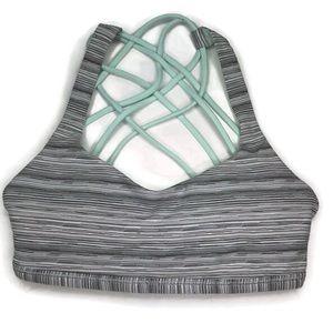 Lululemon Free to Be Bra Gray Striped Green Size 2